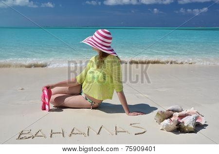 Beach scene. Great Exuma, Bahamas.
