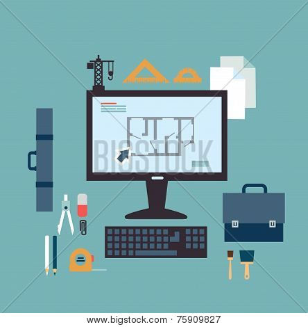 architect develops drawings on the computer illustration
