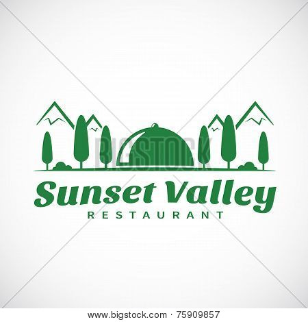Sunset or Sunrise Valley Abstract Vector Template