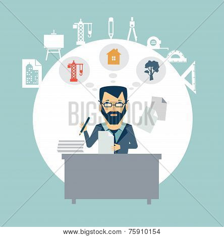 Architect sitting Documents illustration