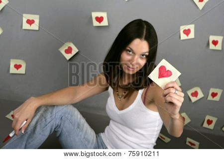Girl Drawing Around The Heart Shape