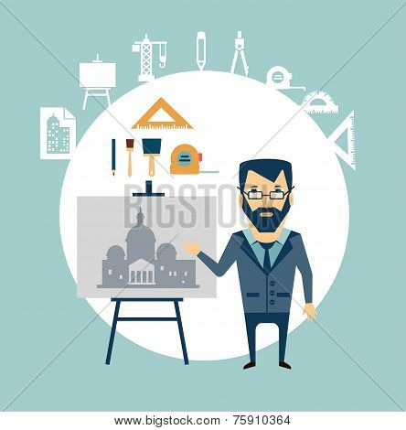 architect restoring old buildings illustration