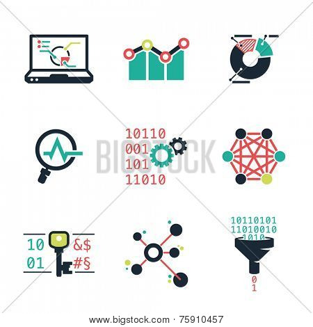 Data mining and Analytic | Color icons set