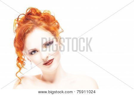 Beauty Portrait. Curly Hair on white background.