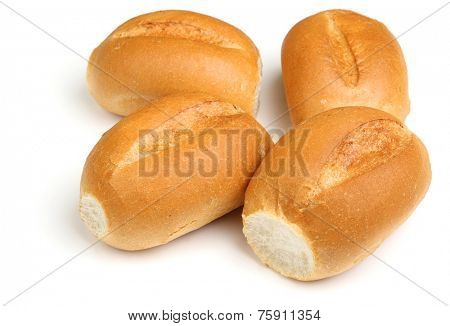 Crusty white bread rolls on white background