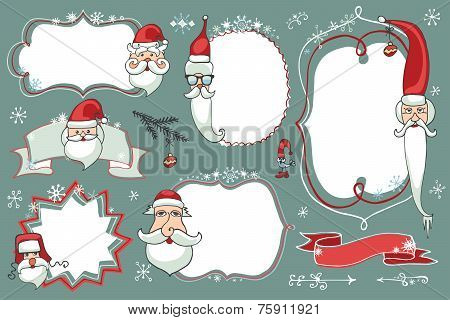 Christmas Doodles set .Badges,labels with santa face