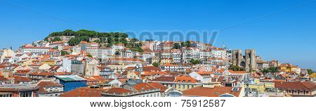 Panorama of the oldest part of Lisbon showing Alfama, Mouraria and Castelo districts and the Sao Jorge Castle and Lisbon Cathedral Se. Lisbon, Portugal