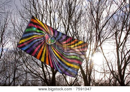 A CND peace flag and trees
