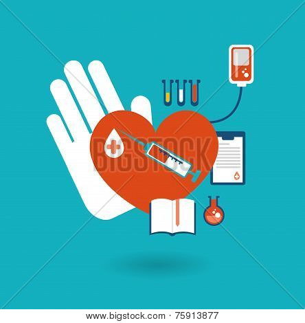 hand holding a donor heart, ready for blood transfusion icon