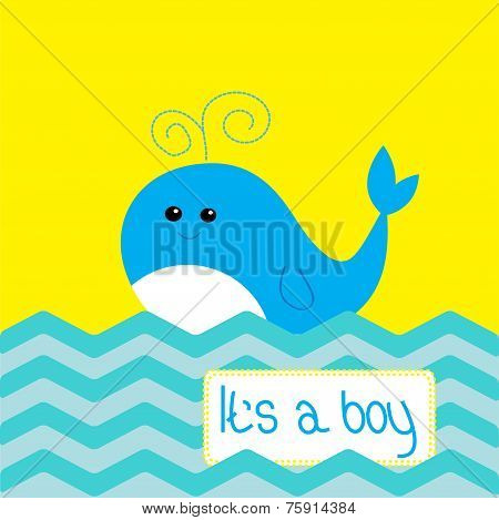Baby Boy Shower Card With Cute Whale