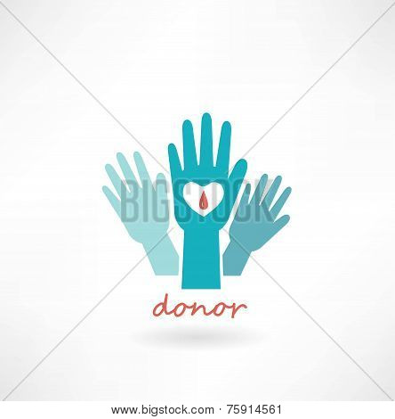hand with heart, blood transfusions in the crosshairs icon