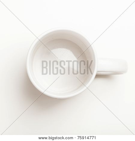 Empty White Coffee, Tea Mug, Cup, Top View