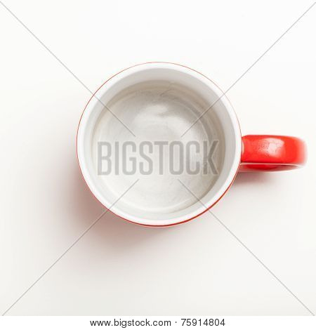 Empty Red Coffee, Tea Mug, Cup, Top View On White