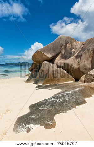 Close up Large Rock Forms at Anse Source d'Argent Beach. A Delightful Tourist Destination to Experience. Located at La Digue Island, Seychelles.