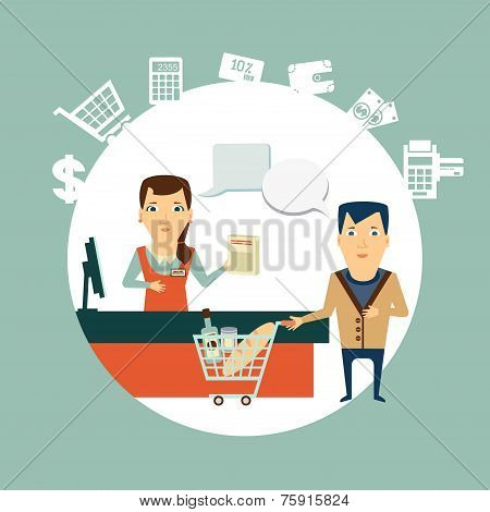 grocery store cashier serves customers  illustration