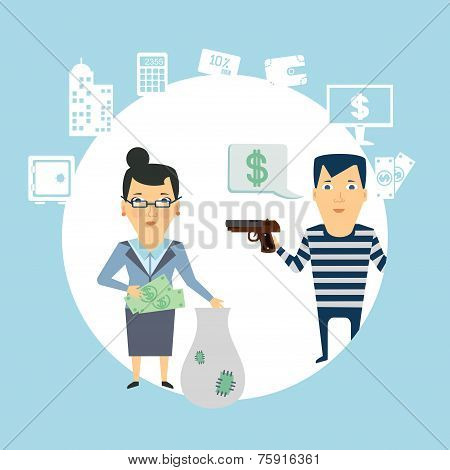 bank robbery  illustration
