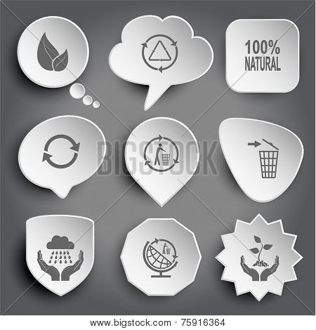 leaf, recycle symbol, 100% natural, recycling bin, weather in hands, globe and recycling symbol, plant in hands. White vector buttons on gray.