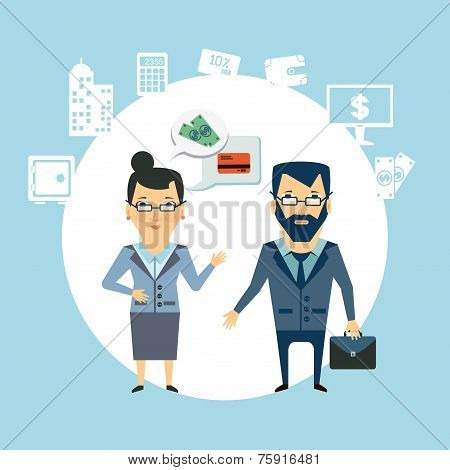 bank employee to talk to customers  illustration