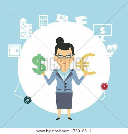 bank employee to change currency  illustration
