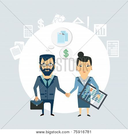 Accountant shakes hands with partner companies illustration
