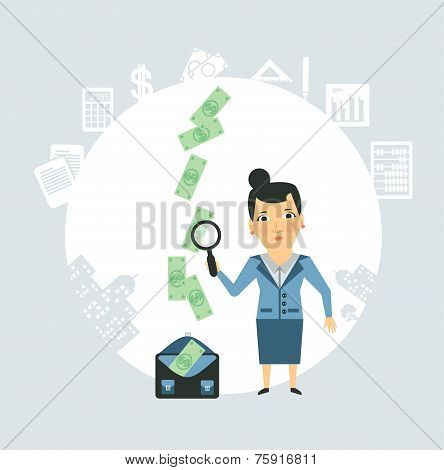 Accountant steals money illustration
