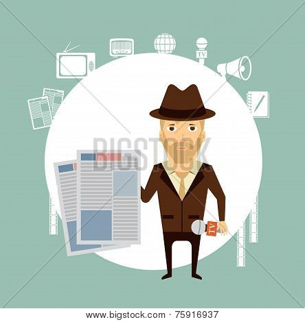 journalist holding a newspaper  illustration