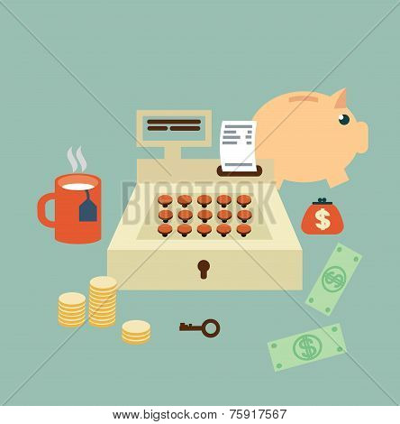 cash register seller  illustration