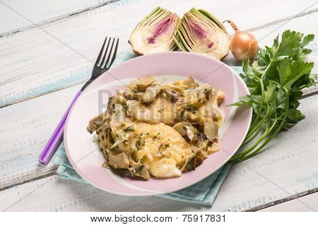 fillet fish with sauteed artichoke
