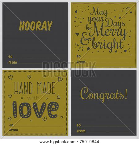 Greeting stylish cards with Christmas and New Year Calligraphic And Typographic Background