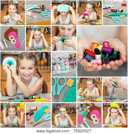 Collage  photos of little girl is engaged in needlework at home