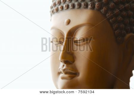 Close up of carved Buddha head