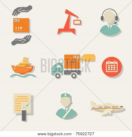 Warehouse transportation and delivery icons flat set isolated vector illustration