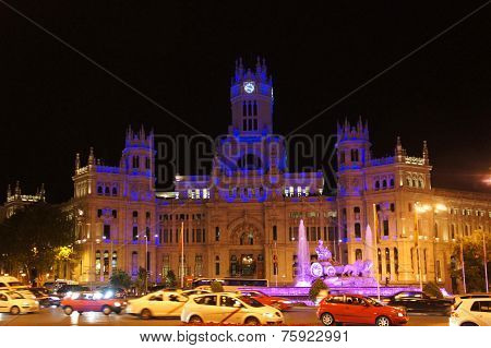 Cybele Palace of Madrid by night
