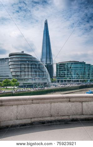 View of the modern architecture and the Shard on the bank of the River Thames in the London CBD