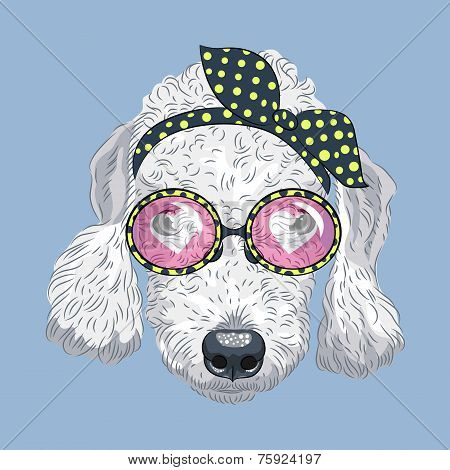 Vector Funny Cartoon Hipster Dog Bedlington Terrier