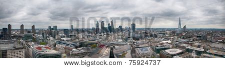 Assorted Architectural London City Buildings in Aerial Panorama View on Gray Sky Above.