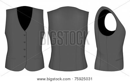 Ladies waistcoat for business women (front, back and side views). Formal work wear. Vector illustration.