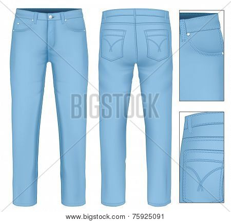 Men's jeans (front, back views). Photo-realistic vector illustration contains gradient mesh.