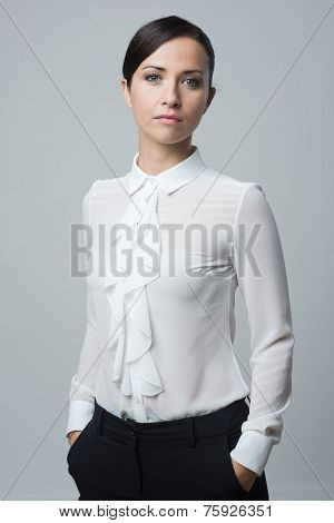 Confident Woman Hands In Pockets
