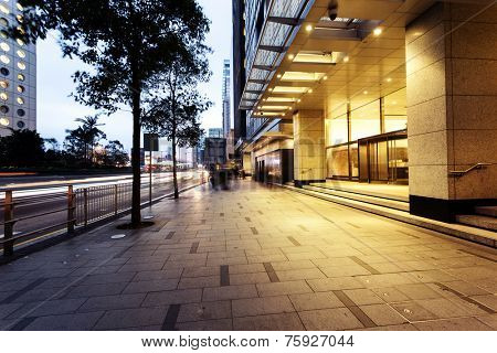 urban city commercial building entrance exterior