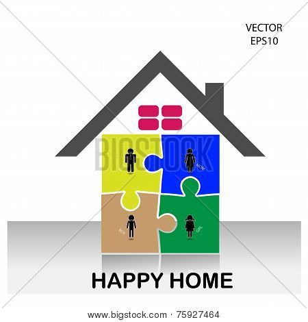 Colorful puzzle home symbol, home icon,