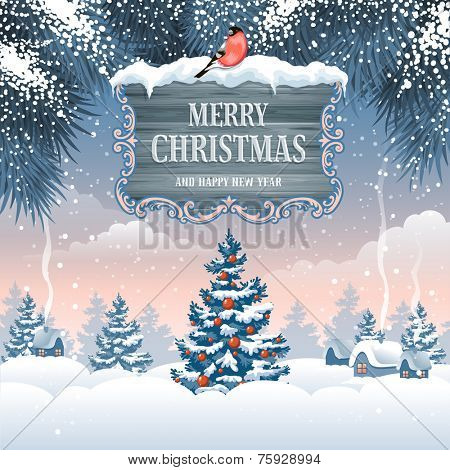 Christmas greeting card with winter landscape and wooden signboard.