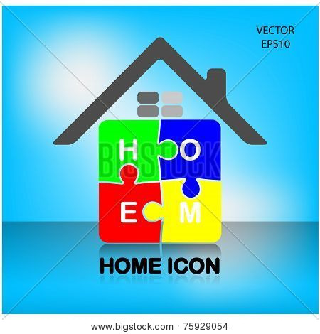 Colorful puzzle home symbol, home icon