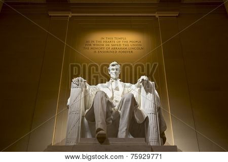 Abraham Lincoln Memorial illuminated, Washington