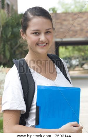 Beautiful Student Ready For School