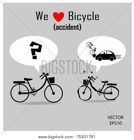 bicycle icons with accident concept