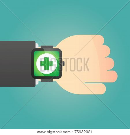 Hand With A Smart Watch Displaying A Pharmacy Sign
