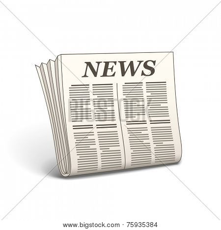 Newspaper icon. Vector illustration of newspaper