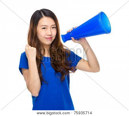 Asian woman speak up with megaphone