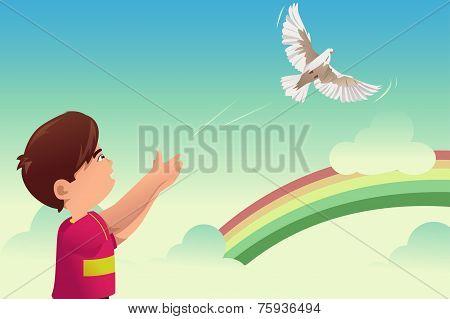Kid Release A Bird